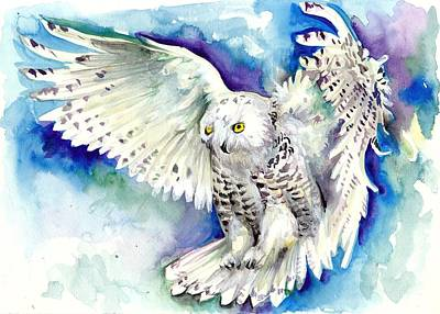 Winter Night Painting - White Polar Owl - Wizard Dynamic White Owl by Tiberiu Soos