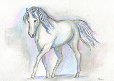 Painting - White Pony by Roz Abellera Art