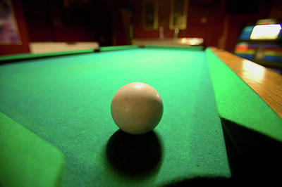 Billiards Photograph - White Pool Ball Lit By Electric Lights by Panoramic Images