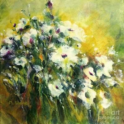 Painting - White Poppy Garden II by Madeleine Holzberg
