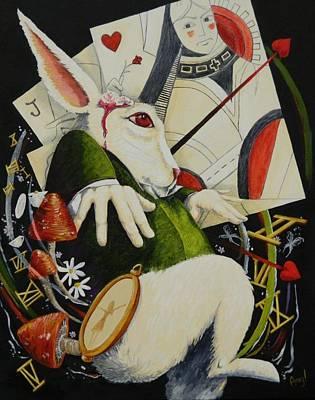 Alice In Wonderland Painting - White Rabbit by Amy Burczyk