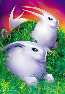 White Rabbits Art Print by Robert Conway