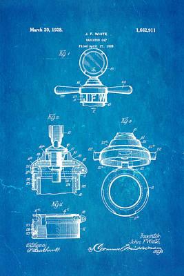 White Radiator Cap Patent Art 1928 Blueprint Art Print by Ian Monk