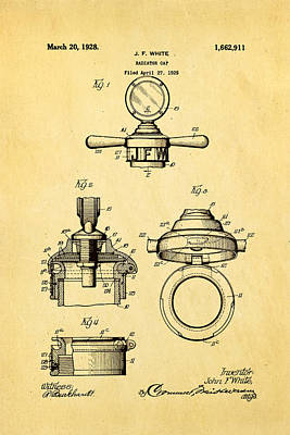 White Radiator Cap Patent Art 1928 Art Print by Ian Monk