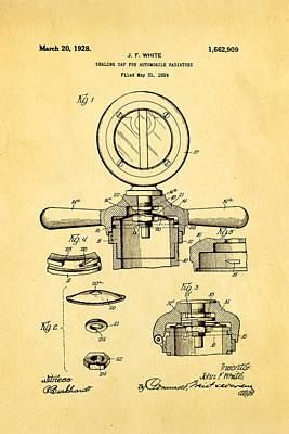 White Radiator Cap Patent Art 2 1928 Art Print by Ian Monk