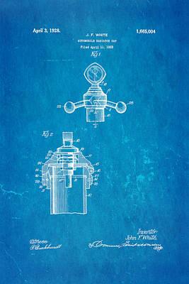 White Radiator Cap Patent Art 3 1928 Blueprint Art Print by Ian Monk