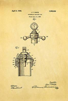 Auto Badges Photograph - White Radiator Cap Patent Art 3 1928 by Ian Monk