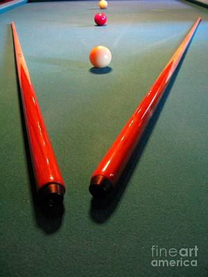 Photograph - Green Red And White. Pool Table Series by Ausra Huntington nee Paulauskaite
