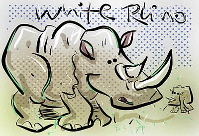 White Rhino Art Print by Brett LaGue