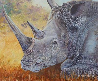 Poaching Painting - White Rhino by Caroline Street