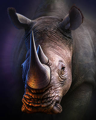 Big Digital Art - White Rhino by Jerry LoFaro