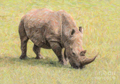 Rhinoceros Digital Art - White Rhinoceros Ceratotherium Simum by Liz Leyden