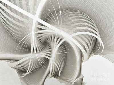 Mathematical Digital Art - White Ribbons Spiral by Karin Kuhlmann