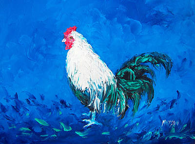 Rooster Painting - White Rooster For A Blue Kitchen by Jan Matson