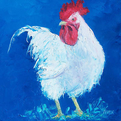 Country Kitchen Decor Painting - White Rooster On Blue by Jan Matson