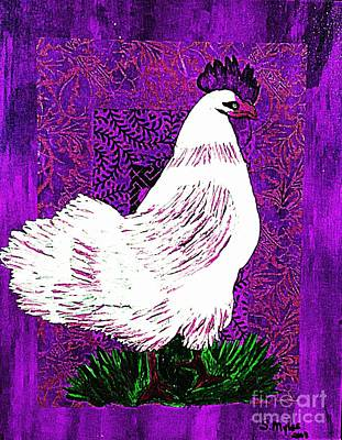 Painting - White Rooster On Purple by Saundra Myles