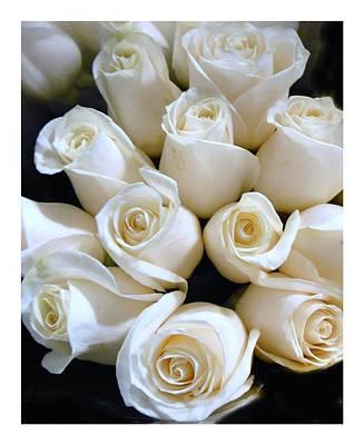 Roses Photograph - White Rose Bouquet Green Emporium N Y C by Patricia E Sundik