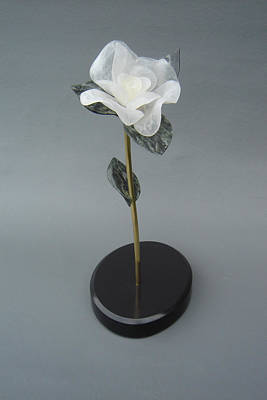 Sculpture - White Rose by Leslie Dycke