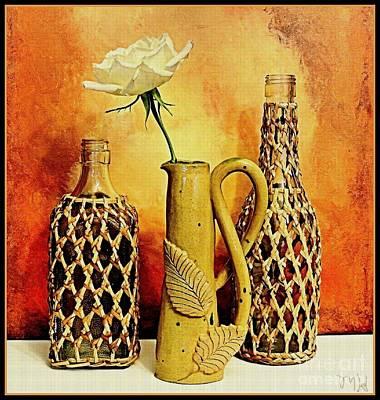 Hand Made Photograph - White Rose Still Life by Marsha Heiken