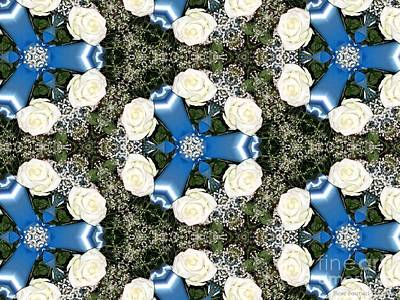 Photograph - White Roses And Babys Breath Kaleidoscope by Rose Santuci-Sofranko