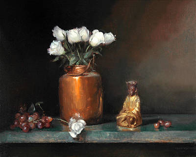 Painting - White Roses And Buddha by Keith Gunderson