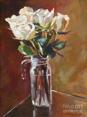 Glass Table Reflection Painting - White Roses And Glass by David Lloyd Glover