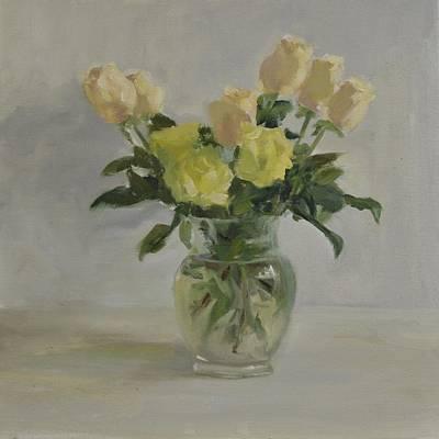 Painting - White Roses by Elena Balekha