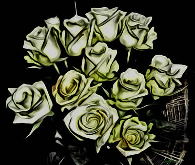 Painting - White Roses - Moving On by Withintensity  Touch