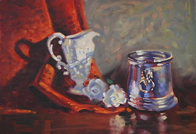 Silver Pitcher Painting - White Roses by Len Stomski