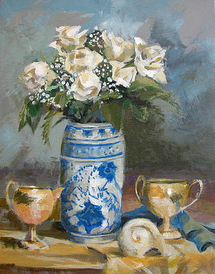 Painting - White Roses by Synnove Pettersen