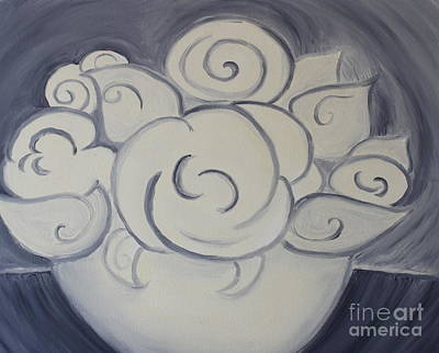 White Roses Art Print by Teresa Hutto