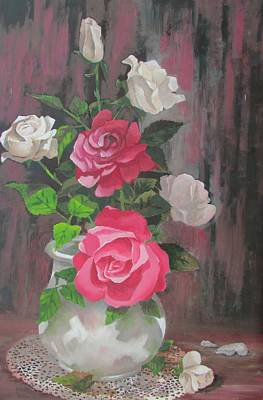 Painting - White Roses by Tony Caviston
