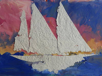 Painting - White Sails In The Sunset by Jann Elwood