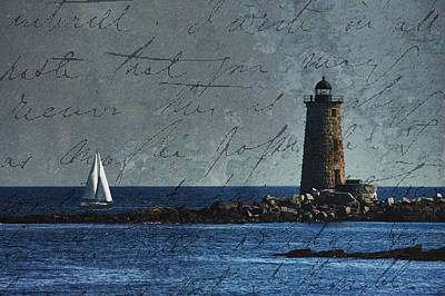 White Sails On Blue  Art Print by Jeff Folger