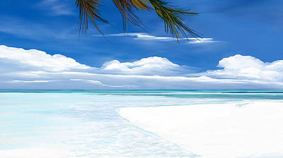Art Print featuring the digital art White Sand And Turquoise Sea by Anthony Fishburne