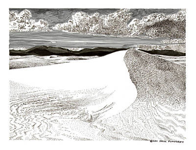 Drawing - White Sands New Mexico by Jack Pumphrey