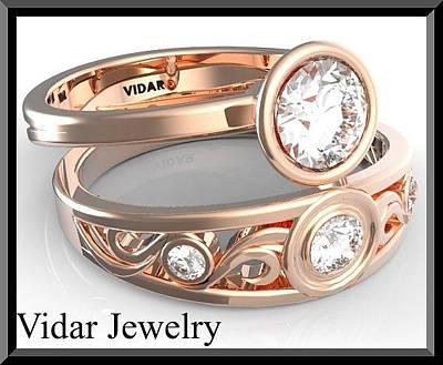 14k White Gold Jewelry - White Sapphire 14k Rose Gold Wedding Ring And Engagement Ring Set by Roi Avidar