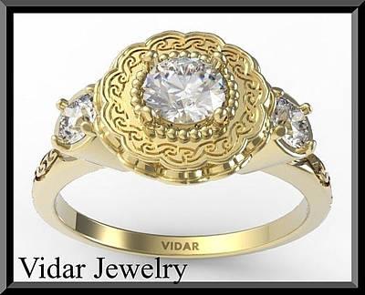 14k Jewelry - White Sapphire And Diamond 14 Yellow Gold Flower Engagement Ring by Roi Avidar