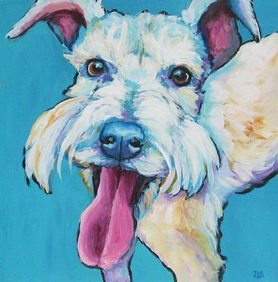 Painting - White Schnauzer Goes Gonzo by Janet Burt