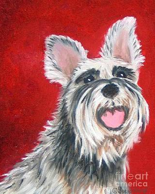 Painting - White Schnauzer Pet Portrait Print by Shelia Kempf