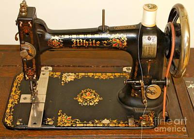 Photograph - White Sewing Machine 2 by Pamela Walrath