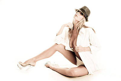 White Shirt And Hat Print by Jt PhotoDesign