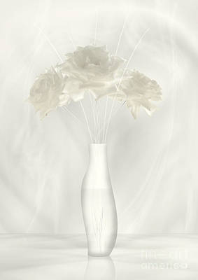 Digital Art - White Soft Roses In Vas by Johnny Hildingsson