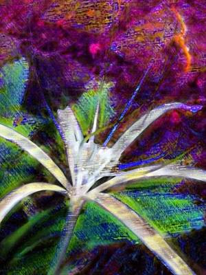 Painting - White Spider Flower On Orange And Plum - Vertical by Lyn Voytershark