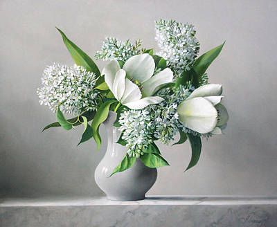 Tulips Painting - White  Sprintime  Flowers by Pieter Wagemans