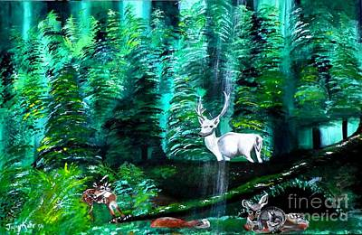 Painting - White Stag by Jayne Kerr