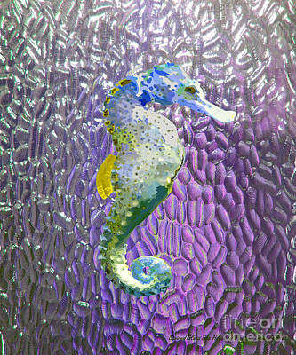 Tropical Colors Stain Glass Digital Art - White Stained Glass Sea Horse by Megan Dirsa-DuBois