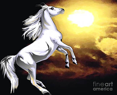 Painting - White Stallion by Belinda Threeths