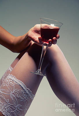 White Stockings With Wineglass Art Print by Aleksey Tugolukov