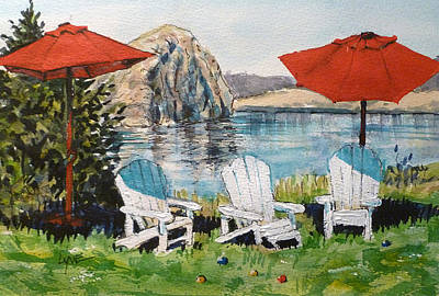 Painting - White Stone Winery Three Chairs by Lynne Haines